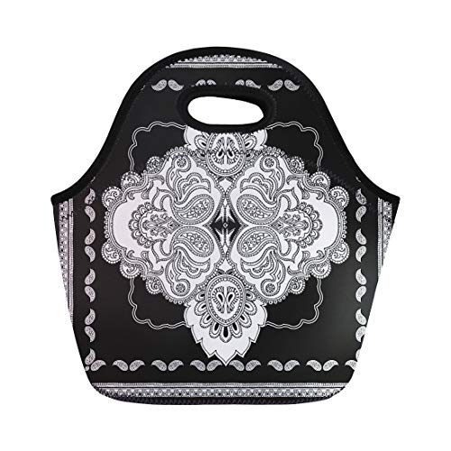 - Semtomn Neoprene Lunch Tote Bag Paisley Pattern in the Shape of Monochrome Bandanna Shawl Reusable Cooler Bags Insulated Thermal Picnic Handbag for Travel,School,Outdoors,Work