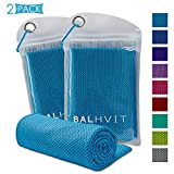 Balhvit 2 Pack Cooling Towel, Ice Towel, Microfiber Towel for Instant Cooling Relief, Cool Cold Towel for Yoga Beach Golf Travel Gym Sports Swimming Camping (Blue, 47x14inch)