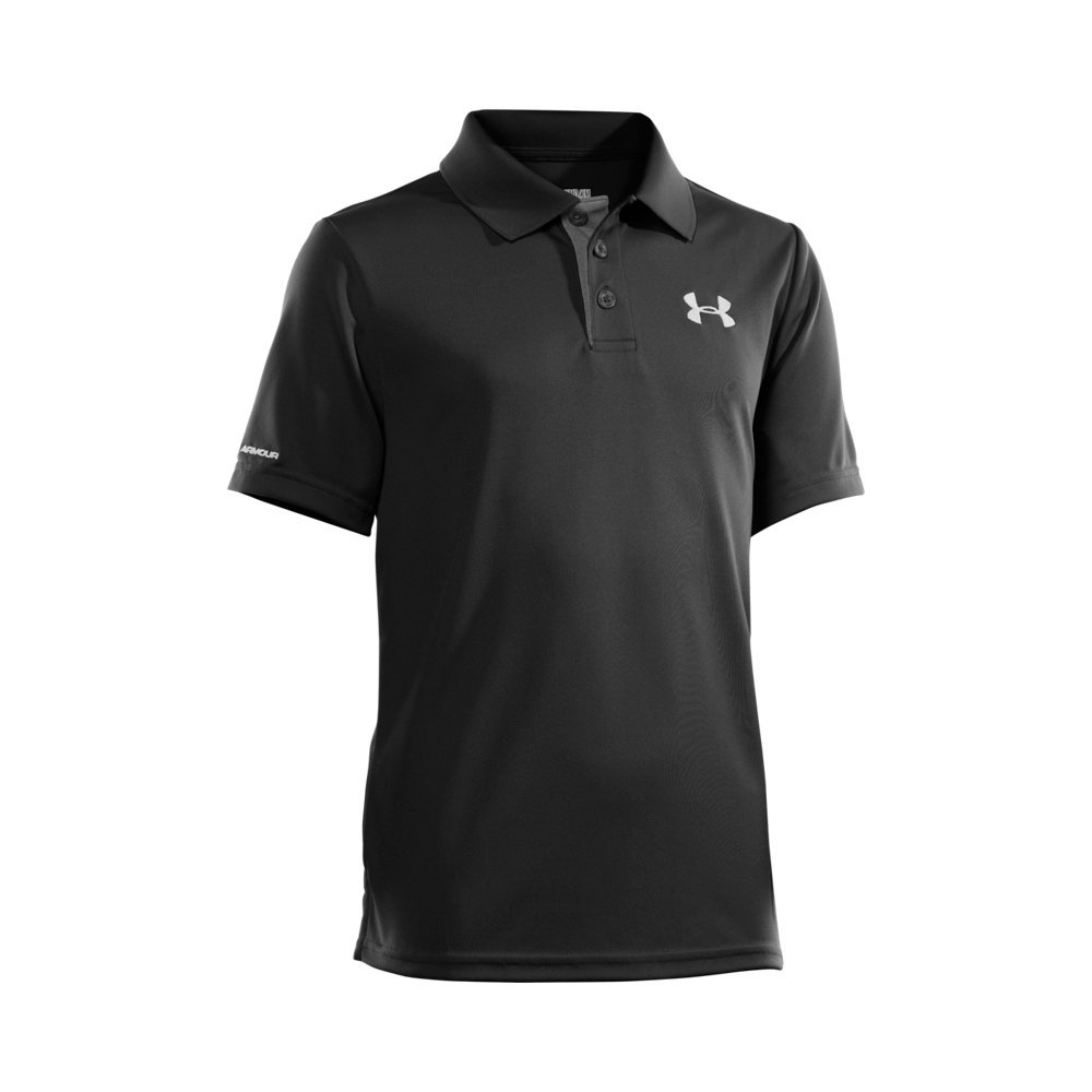 Under Armour Boys' Match Play Polo, Black /White, Youth X-Small