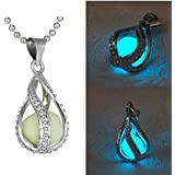 Fashion Women The Little Mermaids Teardrop Glow in Dark Charm Pendant Necklace