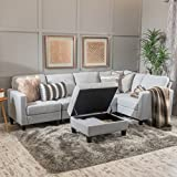 Carolina Light Grey Fabric Sectional Couch with Storage Ottoman