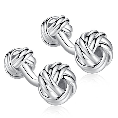 Honey Bear Twist Knot Cufflinks - Stainless Steel for Men's Shirt Wedding Business Gift (Silver with Round Foot) ()