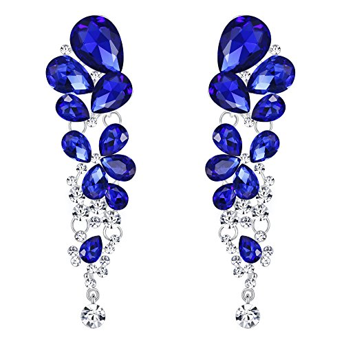 EVER FAITH Women's Crystal Gorgeous Tear Drop Wedding Dangle Pierced Earrings Royal Blue Silver-Tone ()
