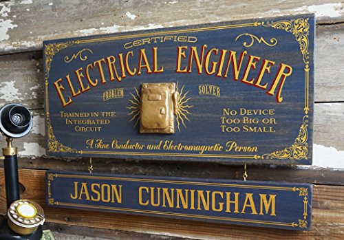 A Simpler Time Electrical Engineer Wood Sign with Personalized Nameboard