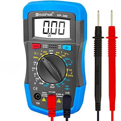 HOLDPEAK HP-36C Digital Multimeter Tester Manual Ranging for AC/DC Voltage Meter,Amp Volt Ohm Current Resistance Diode hFE Temperature Battery Testing with Backlight