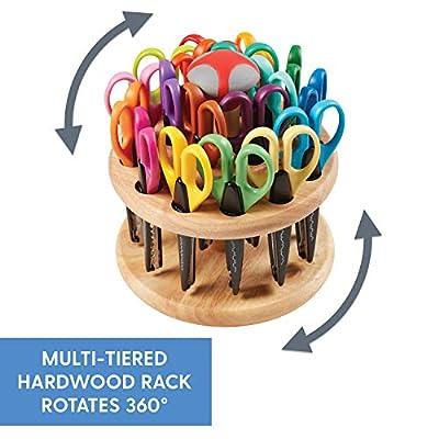 ECR4Kids Kraft Edger Decorative Craft Scissor Set - Scissors with Rotating Wood Rack