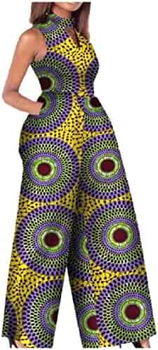 4d66cc57ba0 Comaba Women Dashiki Cotton Sleeveless Oversized African Jumpsuit Romper