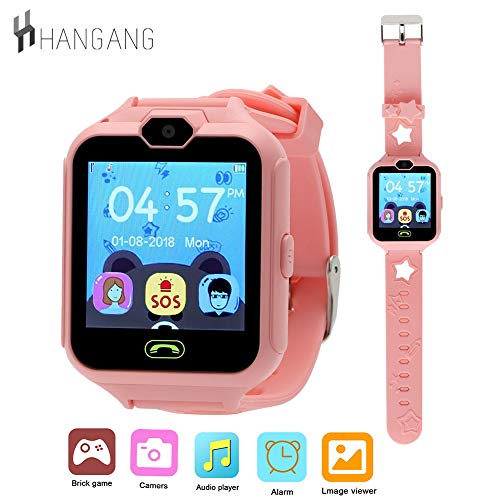 Smart Watch Phone for Kids,Hangang Kids Smartwatch with 3 Games Kid Phone with SOS Camera Cool Watches for Kids Mobile Watch Gifts for Girls Boys Kids-Pink
