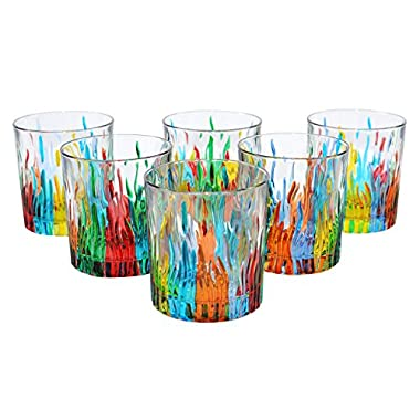BICCHIERI FIRE Water Drink Glasses Crystal Hand Painted Traditional Technique Colors Venice