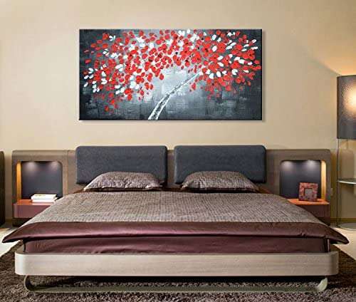 Handmade Black and Red Wall Art Money Tree Abstract Oil Painting on Canvas
