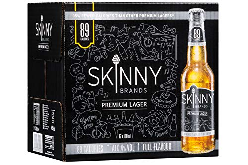 SkinnyBrands Premium Lager, 330 ml Bottle, Case of 12