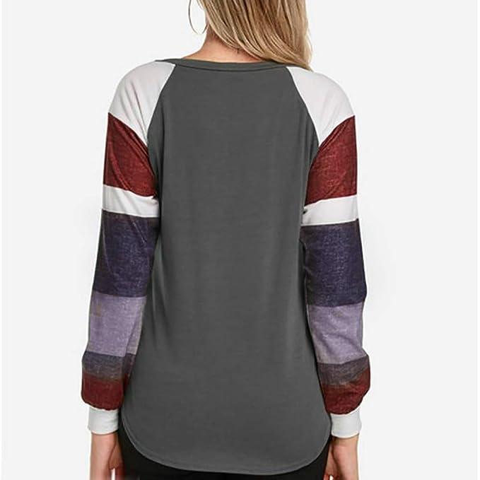 Longra❤ ❤ Bloque de Color a Rayas de otoño Casual Elegante Camiseta Tops Blusa: Amazon.es: Ropa y accesorios