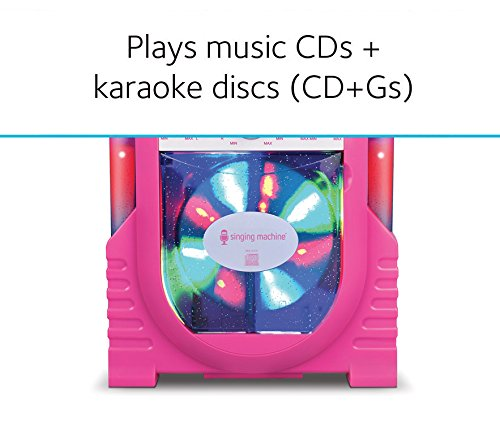 Singing Machine Portable Vertical Load CDG Player with Disco Effect, Pink by Singing Machine (Image #2)
