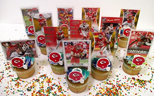 KANSAS CITY CHIEFS 24 Piece Birthday Party Cupcake Topper Party Favor Set Featuring 12 Chiefs Team Helmet Rings and 12 Chiefs Player Football Cards -