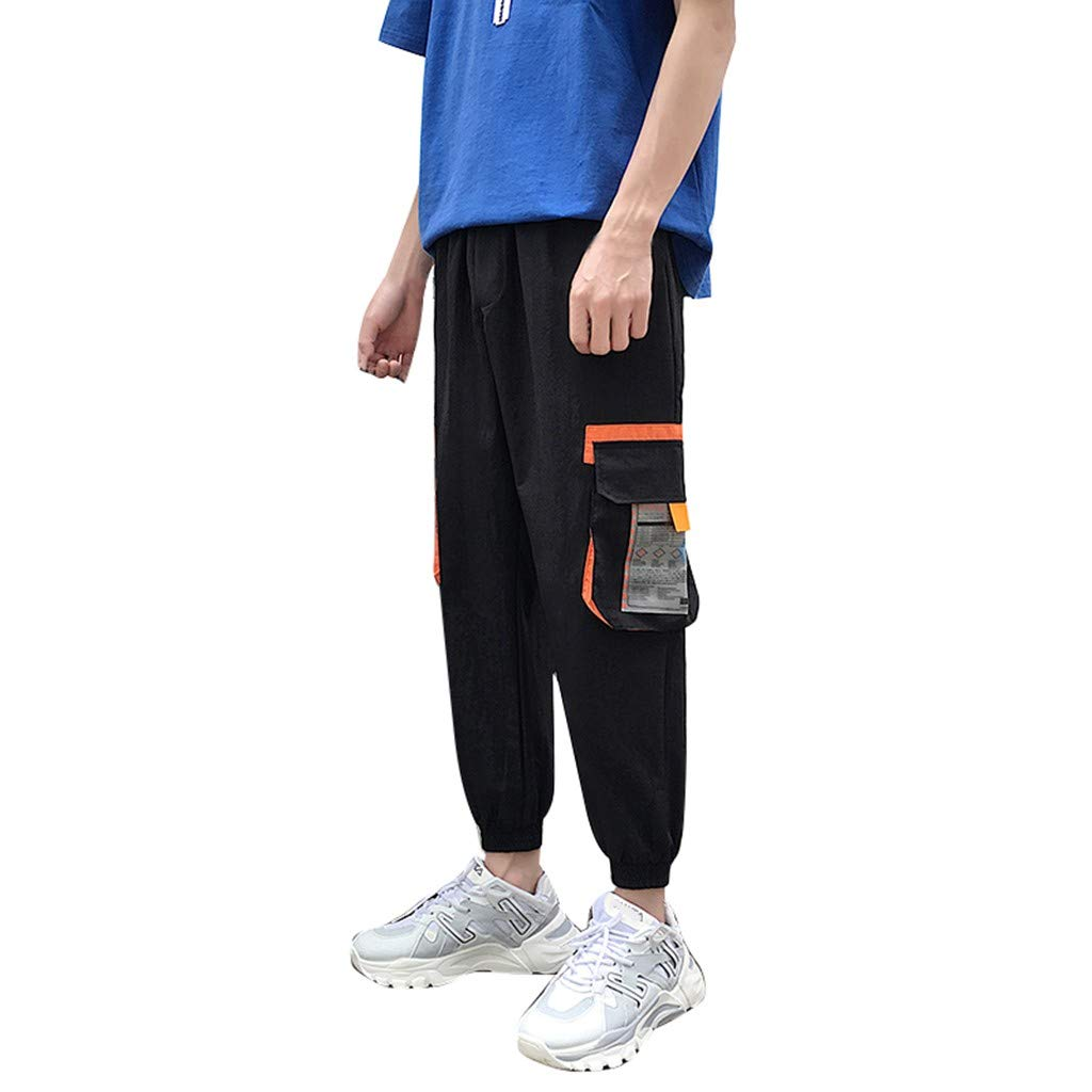 Imakcc Men's Pant,Dance Pants Pocket Splice Comfortable Trousers Jogger Pants(L, Black) by Imakcc-Sports pants