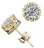 Fashion Crown 18k Gold Plated Earrings Women Men Sterling Silver Crystal Jewerly Stud Earrings