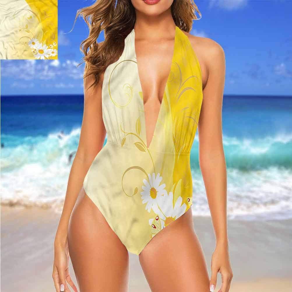 Adorise Ensemble de bikini vintage pour femme, jaune, oiseaux et arbres nature pour tous les teints Multi 13.