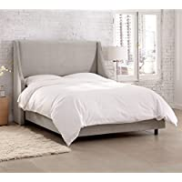 Skyline Furniture Upholstered California King Bed in Velvet Light Gray