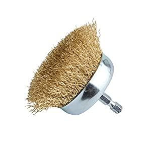 """Gunpla 3 inch Wire Cup Brush with 1/4"""" Hex Shank Crimped Tempered Steel Bristles"""
