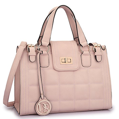 Dasein Women's Structured Designer Quilted Satchel Handbag Work Bag Shoulder Bag with Strap - Designer Quilted Handbags