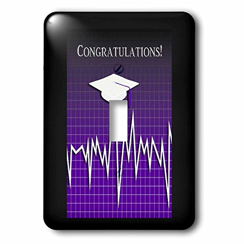 Beverly Turner Graduation Design - Medical Theme, Congratulations, Heart Beat Graph, Grad, Cap, Purple - Light Switch Covers - single toggle switch (lsp_234544_1) by 3dRose