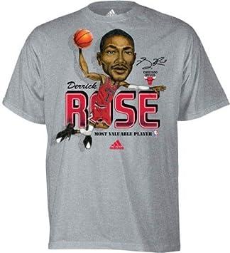 Adidas Derrick Rose MVP Caricature Chicago Bulls Gray T-shirt camisa: Amazon.es: Deportes y aire libre