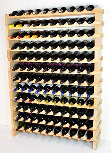 Modular Wine Rack Beechwood 40-120 Bottle Capacity 10 Bottles Across up to 12 Rows Newest Improved Model (120 Bottles - 12 Rows) (Wine Rack 120 compare prices)
