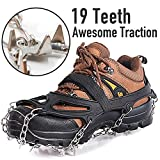 Spike Crampons Ice Grippers Ice Traction Cleats 19 Teeth Walk Crampons Track Run Spiked Grips True Stainless Steel Spikes and Durable Silicone Attaches Over Shoes Boots For Winter Walking Hiking Outdoor Ice Snow Black Medium