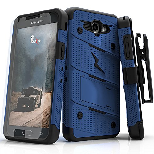 Zizo Bolt Series Compatible with Samsung Galaxy J7 Prime Case Military Grade Drop Tested with Tempered Glass Screen Protector, Holster Blue