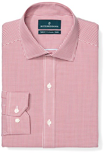 Buttoned Down Men's Tailored Fit Spread-Collar Pattern Non-Iron Dress Shirt, Burgundy Small Gingham, 15'' Neck 33'' Sleeve by Buttoned Down (Image #1)