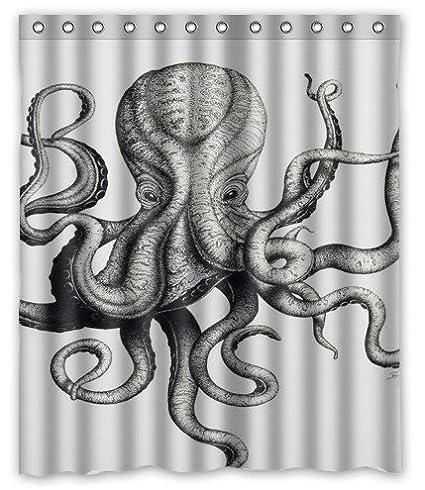 Custom Octopus Shower Curtain 60 X 72 Inch Bathroom Curtains 04