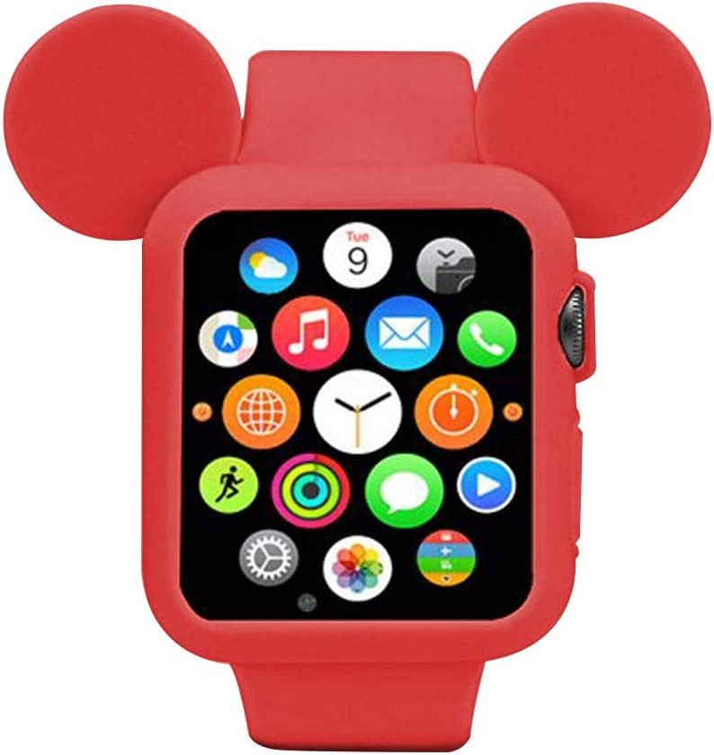 Navor Soft Silicone Protective Case with Cartoon Mouse Ears Compatible for Apple Watch 42mm Series 1/2/3 - Red