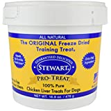 Stewart Freeze Dried Chicken Liver Dog Treats, Grain Free, All Natural, Made in USA by Pro-Treat, 16.8 oz., Resealable Tub