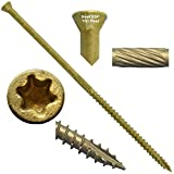 #9 x 4'' Bronze Star Exterior Coated TRIM HEAD Wood Screw Torx/Star Drive Head (1 Pound) - Multipurpose Exterior Coated Torx/Star Drive Wood Screws