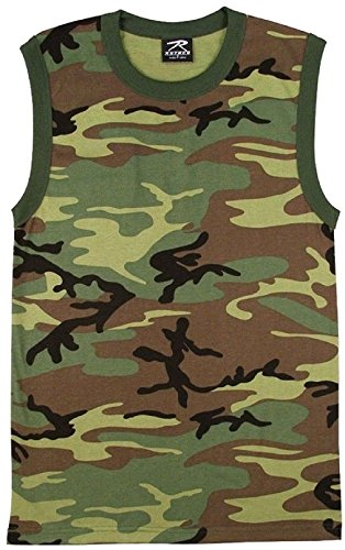 (Woodland Camouflage Military Muscle Shirt Sleeveless Tank Top)