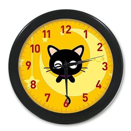 Pookeb Chococat Yellow Moon Cute Cartoon Kawaii Clock Cover Print Modern Home Decor Decoraitve Wall Clock