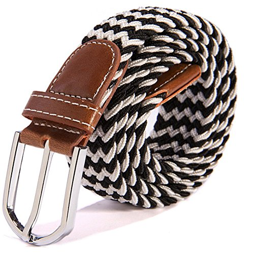 RevoLity Mens Multicolor Elastic Fabric Woven Braided Stretch Webbed Belt with PU Leather Buckle Length 105cm Colour (Black)