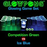 GLOWPONG Glowing Game Set - Competition Green vs Ice Blue