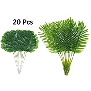 Artificial Palm Leaves with Stem and Tropical Philodendron Monstera Fronds Party Decorations Faux Palm Tree Plant Leaf Fake Imitation Ferns Branches Home Kitchen Plastic Decor 20 Pieces AF49 2