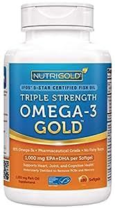 Nutrigold Triple Strength Omega-3 Gold Fish Oil Supplement, 1250 mg, 180 Softgels