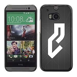 MobileHut / HTC One M8 / White Grey Abstract Line Minimalist / Delgado Negro Plástico caso cubierta Shell Armor Funda Case Cover