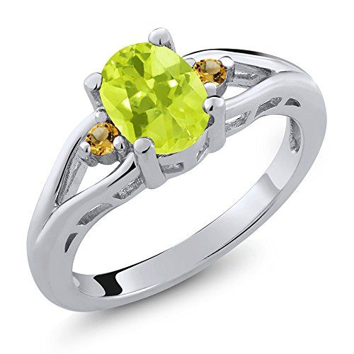 Lemon Citrine Ring (1.17 Ct Oval Yellow Lemon Quartz and Simulated Citrine 925 Sterling Silver 3 Stone Ring)