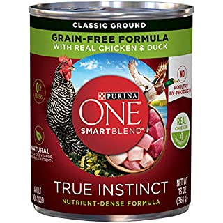 Purina ONE Grain Free, Natural Pate Wet Dog Food, SmartBlend True Instinct With Real Chicken & Duck - (12) 13 oz. Cans