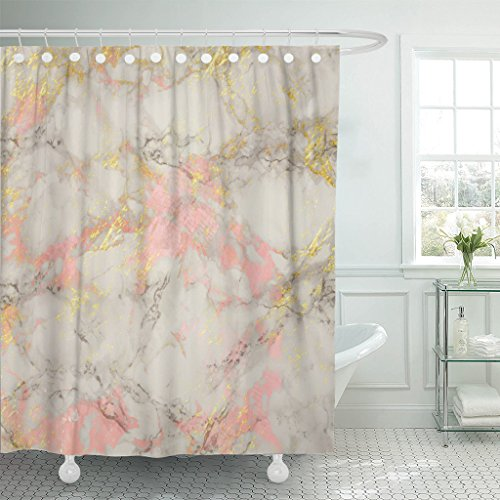 VaryHome Shower Curtain Pink Abstract Rose and Gold Marble S