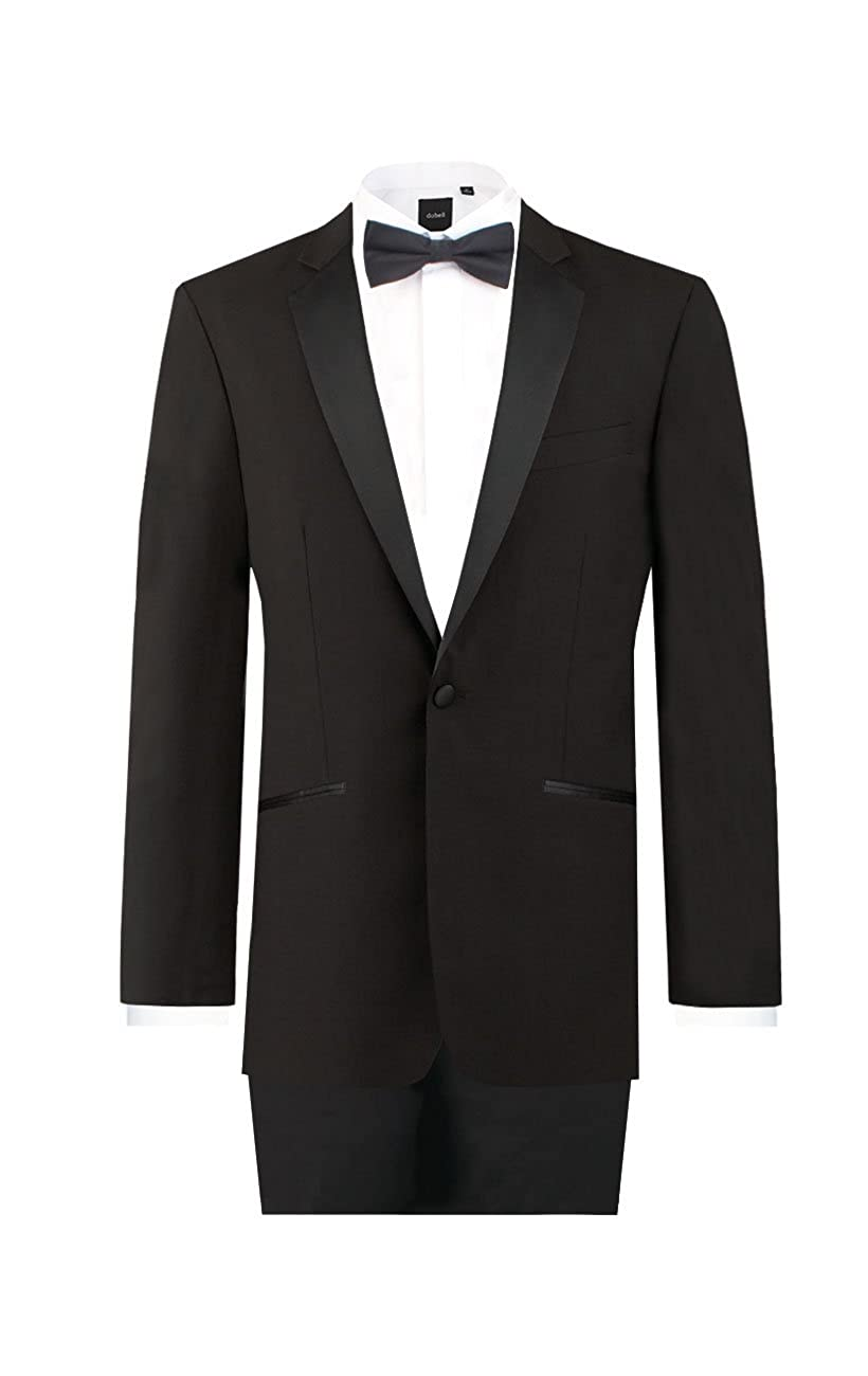 Dobell Mens Black 2 Piece Tuxedo Regular Fit 100% Wool Notch Lapel