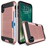 Cheap iPhone X Case,Berry Accessory Dual Layer Hard Silicone Rubber Hybrid Defender Armor Card Slot Holder [Slim Fit] Full Body Protective Cover for iPhone X (2017) – Rose Gold