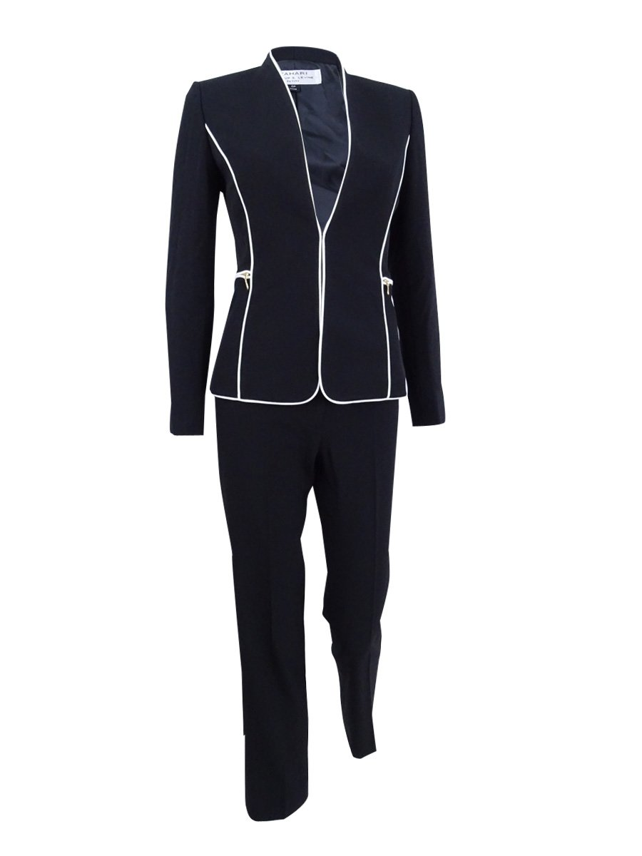 Tahari ASL Women's Plus Size Contrast-Trim Pantsuit (20W, Black/White)