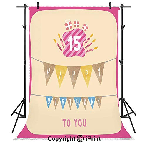 15th Birthday Decorations Photography Backdrops,Pastel Colored Framework Flags Presents and Candles Greeting,Birthday Party Seamless Photo Studio Booth Background Banner 5x7ft,Multicolor