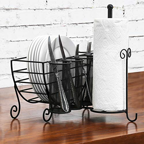 Space Saving Kitchen Caddy with Paper Towel and Silverware Utensil Holder, Dish Drying Rack, Black Metal