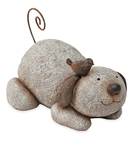 Wind & Weather DEC Garden Ornaments Puppy with Bird Sculpture, Multi ()
